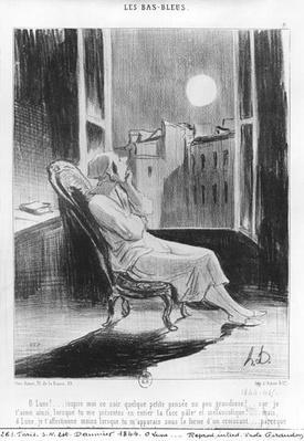Series 'Les Bas-Bleus', O Moon!..., plate 8, illustration from 'Le Charivari', 28th February 1844
