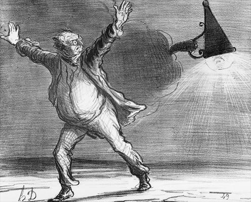 Series 'Actualites', the comet, Monsieur Babinet decides to personally shut down the sun in order to fulfil his predictions, plate 386, illustration from 'Le Charivari', 15th April 1857