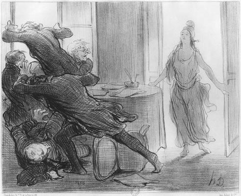 The last cabinet meeting of the ex-ministers, illustration from 'Le Charivari', 9th March 1848