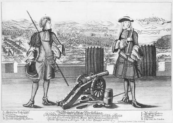 Charles V, Duke of Lorraine and Bar, with an engineer, at the battle of Neuhausel against the Turks in July and August 1685