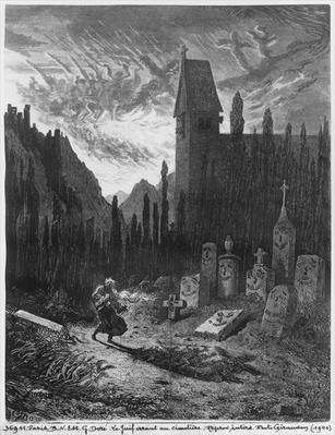 The Wandering Jew in the cemetery, engraved by Octave Jahyer
