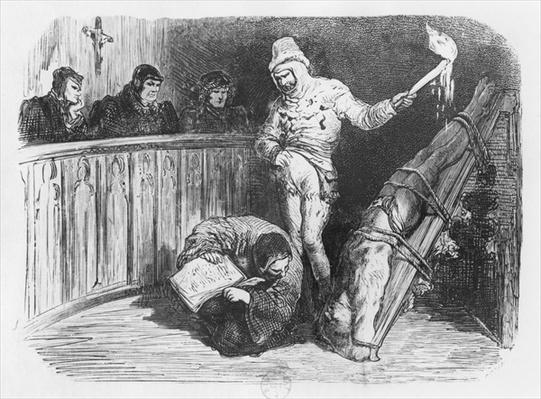 Scene of Inquisition, illustration from the 'Essais' by Michel Eyquem de Montaigne