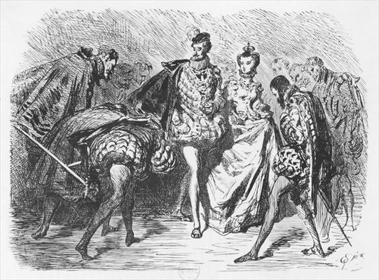 King and court, illustration from the 'Essais' by Michel Eyquem de Montaigne