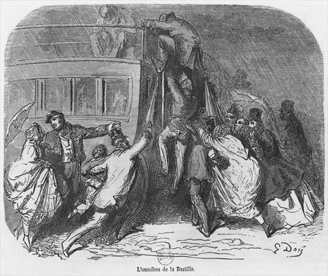 The Bastille omnibus, illustration from 'Le Nouveau Paris' by Emile Gigault de La Bedolliere