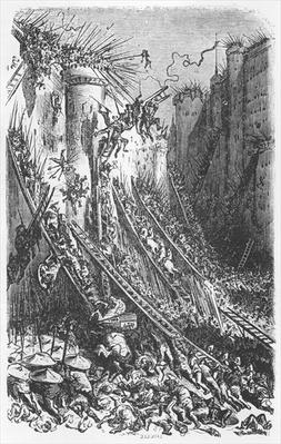 Attacking a castle or a fortified town, illustration from 'Les Contes Drolatiques' by Honore de Balzac