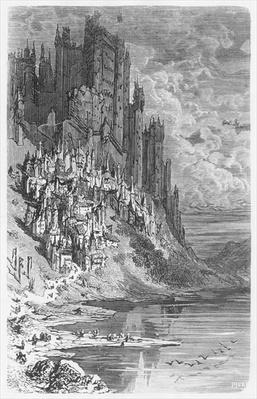 Fantasy landscape with town and castle, illustration from 'Les Contes Drolatiques' by Honore de Balzac