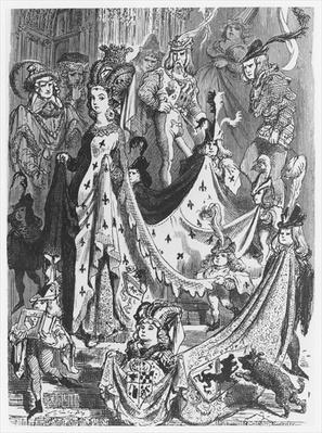 A queen, illustration from 'Les Contes Drolatiques' by Honore de Balzac