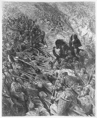 Battle scene, illustration from 'Orlando Furioso' by Ludovico Ariosto