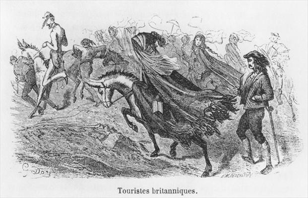 British tourists, illustration from 'Voyage aux Pyrenees' by Hippolyte Taine