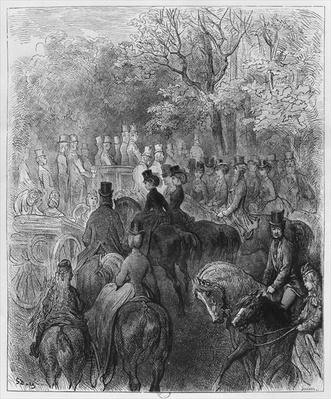 Carriages and riders at Hyde Park, illustration from 'Londres' by Louis Enault