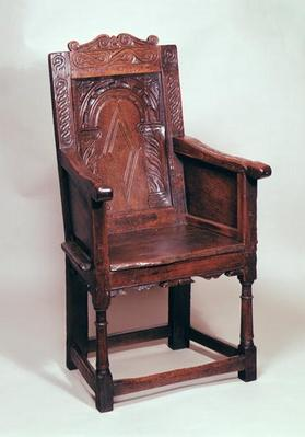 Armchair with arcaded back and boxed sides, early 17th century