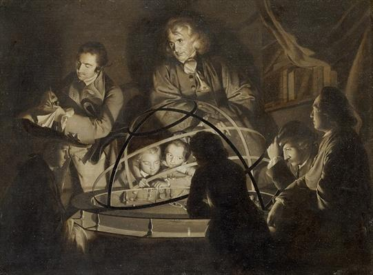 Philosopher giving a lecture on the orrery, c.1768