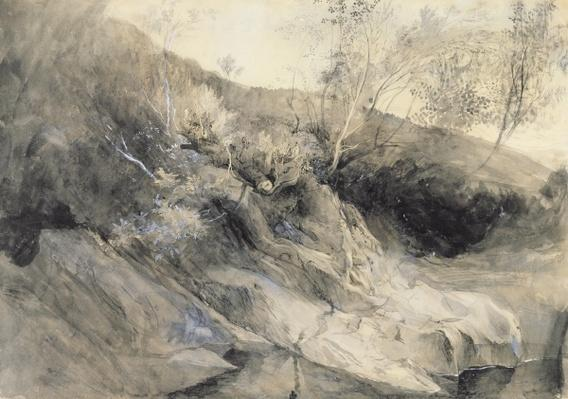 The Rocky Bank of a River - Verso: sketch of foliage, c.1853