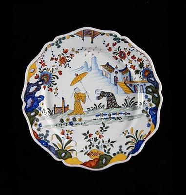 Plate with Chinese style decoration, manufactured in Rouen