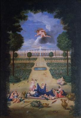 The Groves of Versailles. View of the parterres of Trianon with Flora and Zephyr