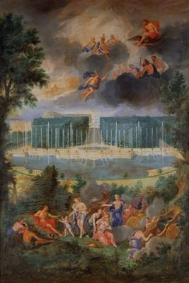 The Groves of Versailles. View of the pool of Neptune and walkway with the Judgement of Paris