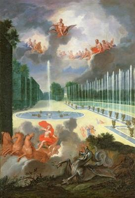 The Groves of Versailles. View of the Dragon Pool and the Pool of Neptune, with Apollo slaying Python