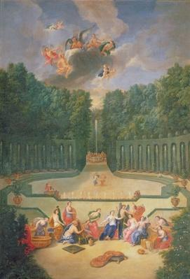 The Groves of Versailles. View of the Amphitheatre and the Water theatre with Venus surrounded by the hours in the presence of Uranus