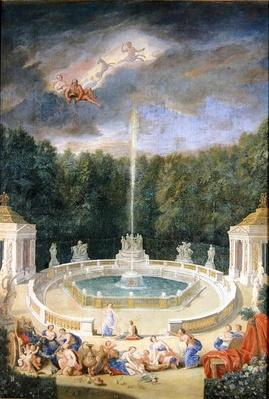 The Groves of Versailles. View of the Grove of Domes with nymphs decorating the chariot of Apollo with flowers