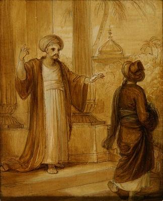 Two male figures standing, illustration from an Eastern Romance, possibly 'The Arabian Nights'