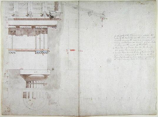 A Collection of Original Drawings for Temples at Bassac: Elevation and Partial Structure of Roof of the Temples of Jupiter Panhellenius at Aegina