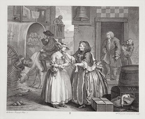A Harlot's Progress, plate I, from the 'Original and Genuine Works of William Hogarth', published in London, 1820-22