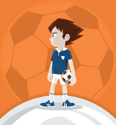 Soccer Team Leader Boy Standing and Holding A Football Ball | Clipart