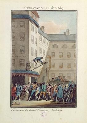Events of the 22nd of October 1789: Hanging of a man named Francois, a baker