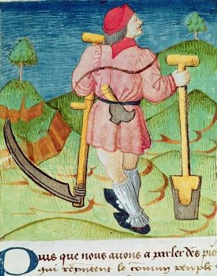 Ms.3066 fol.39v The Labourer, from 'Le Livre des echecs moralises', by Jacques de Cessoles