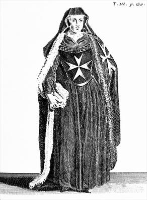 Canoness of the Order of St. John of Jerusalem during the Rhodian period, illustration from 'Histoire et Costumes des Ordres Monastiques' by Pierre Helyot