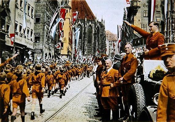 Hitler Youth march past Baldur von Schirach, Nuremberg, 1933