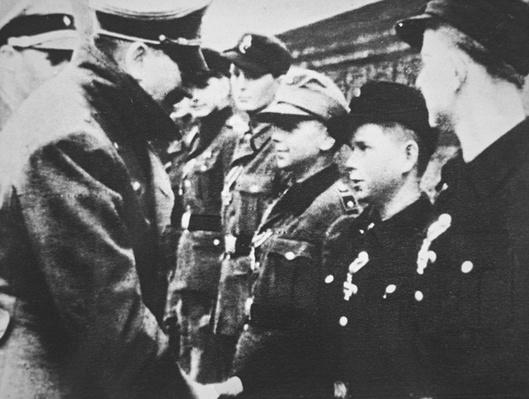 Hitler congratulating Alfried Czech, Berlin, 1945