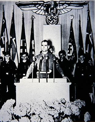 Hess addressing a Hitler Youth meeting, Nazi Germany