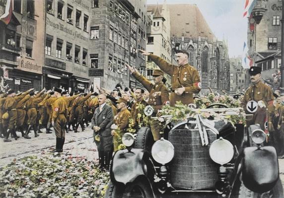 Hitler inspects SA Brown Shirts, Nuremberg, 1927