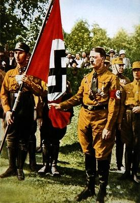 Hitler holding the Blutfahne/Bloodflag, 1933