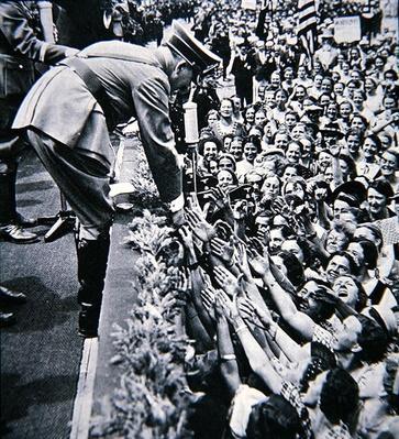Hitler reaching out to his adoring public, c.1938