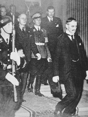Neville Chamberlain leaves a meeting with Hitler, 23rd September 1938