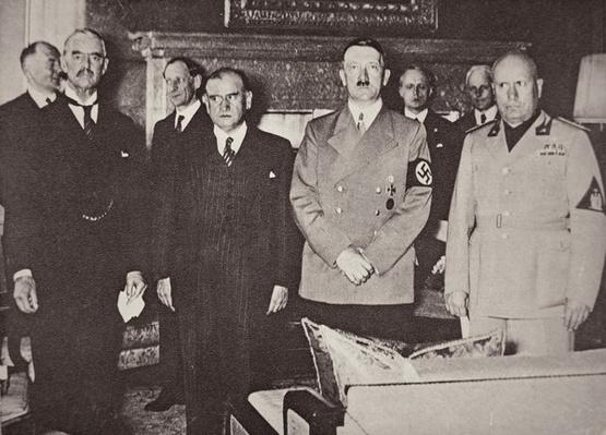 Chamberlain, Daladier, Hitler and Mussolini pictured before signing the Munich agreement, 29th September 1938