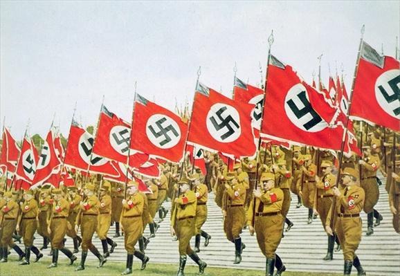 SA Brown shirts on parade, Reichsparteitag, Nuremberg, 1933