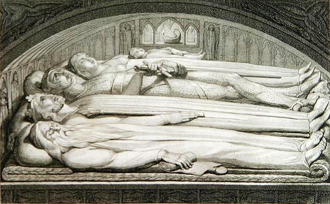 The King, Councellor, Warrior, Mother and Child in the Tomb, illustration from 'The Grave, A Poem' by William Blake