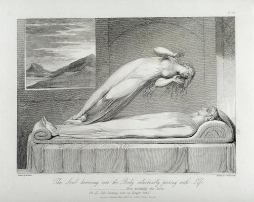 The soul hovering over the body reluctantly parting with life, pl.7, illustration from the book 'The Grave, A Poem' by William Blake