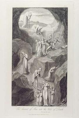The Descent of Man into the Vale of Death, pl.8, illustration from 'The Grave, A Poem' by William Blake