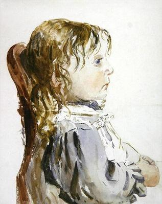 Study of a small girl in a pinafore, probably late 1840s