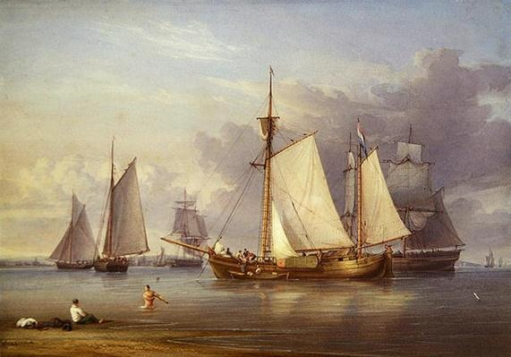 Dutch Fishing Boats at Anchor in an Estuary, c.1850-60