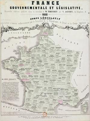 Governmental and Legislative Map of France, printed by Ledoyen & Giret, Paris, 1852