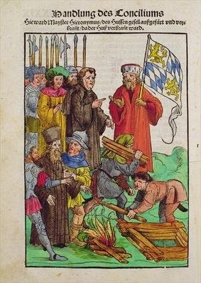 The execution of Jan Hus or one of his priests at the Council of Constance, from 'Chronik des Konzils von Konstanz'