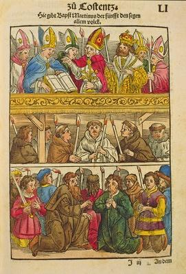 Martin V is elected Pope and blesses the people at the Council of Constance, 1417, from 'Chronik des Konzils von Konstanz'