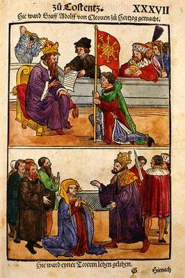 Sigismund raises Count Adolph of Cleves to the rank of Duke at the Council of Constance, from 'Chronik des Konzils von Konstanz'