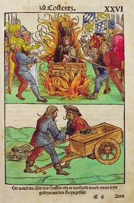 The execution of Jan Hus or one of his priests at The Council of Constance,, from 'Chronik des Konzils von Konstanz'