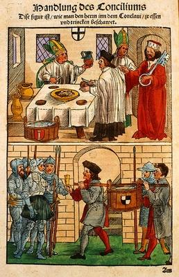 How the bread and wine were distributed to the people during the Council of Constance, from 'Chronik des Konzils von Konstanz'